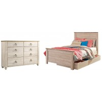 Willowton - Full Panel Bed with 1 Storage Drawer with Dresser