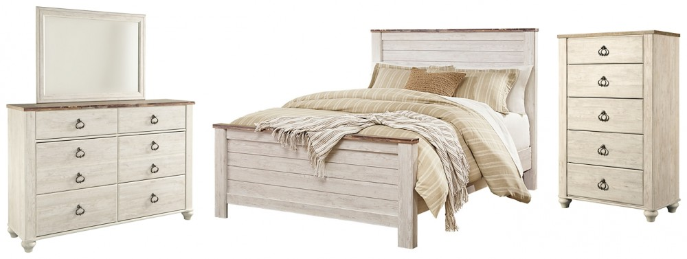 Willowton - Queen Panel Bed with Mirrored Dresser and Chest