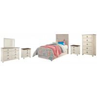 Willowton - Twin Panel Headboard Bed with Mirrored Dresser, Chest and 2 Nightstands