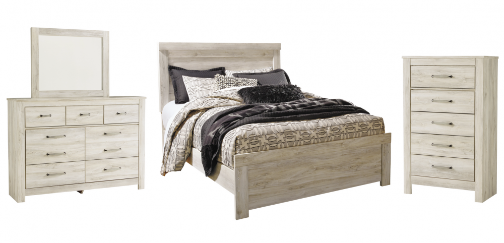 Bellaby - Queen Panel Bed with Mirrored Dresser and Chest