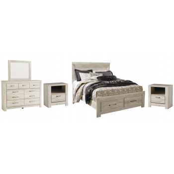 Bellaby - Queen Platform Bed with 2 Storage Drawers with Mirrored Dresser and 2 Nightstands
