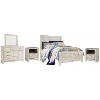Bellaby - Queen Crossbuck Panel Bed with Mirrored Dresser and 2 Nightstands