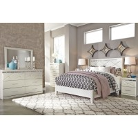 Dreamur - Queen Panel Bed with Mirrored Dresser