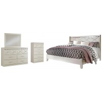 Dreamur - King Panel Bed with Mirrored Dresser and Chest