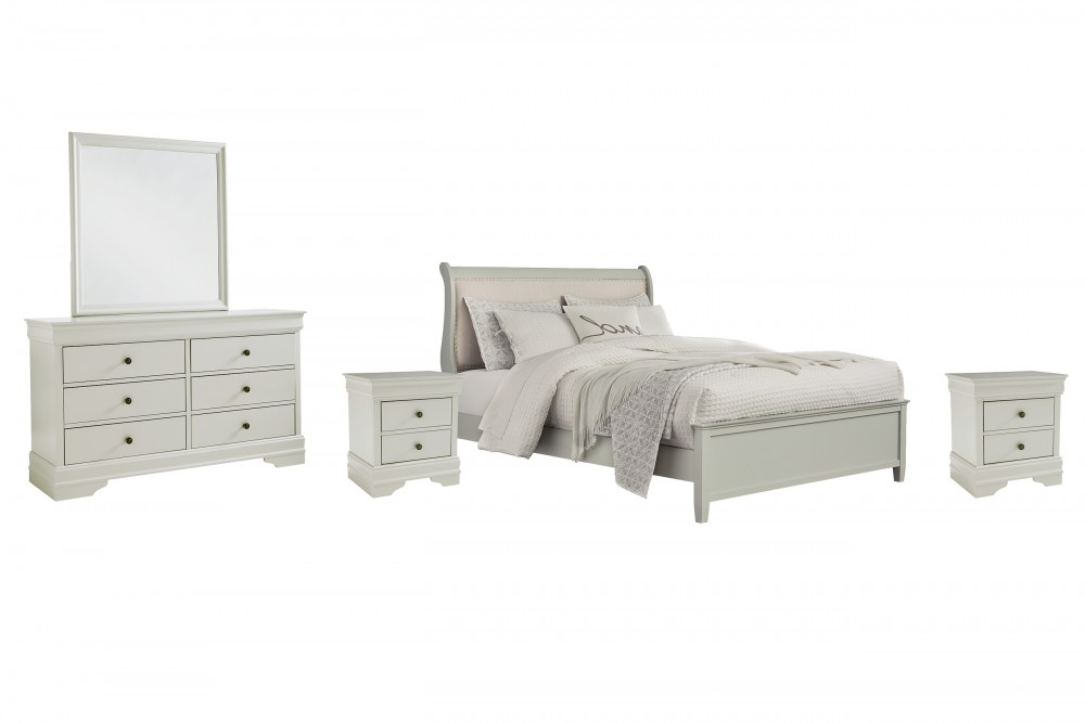 Jorstad - King Sleigh Bed with Mirrored Dresser and 2 Nightstands