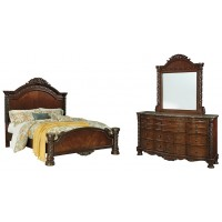 North Shore - Queen Panel Bed with Mirrored Dresser