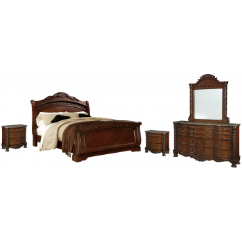 North Shore - Queen Sleigh Bed with Mirrored Dresser and 2 Nightstands