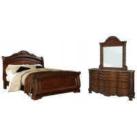 North Shore - Queen Sleigh Bed with Mirrored Dresser