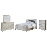 Coralayne - California King Panel Bed with Mirrored Dresser and Chest