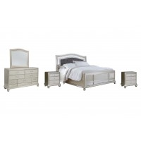 Coralayne - California King Panel Bed with Mirrored Dresser and 2 Nightstands