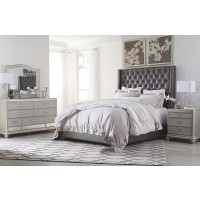 Coralayne - California King Upholstered Bed with Mirrored Dresser and Chest