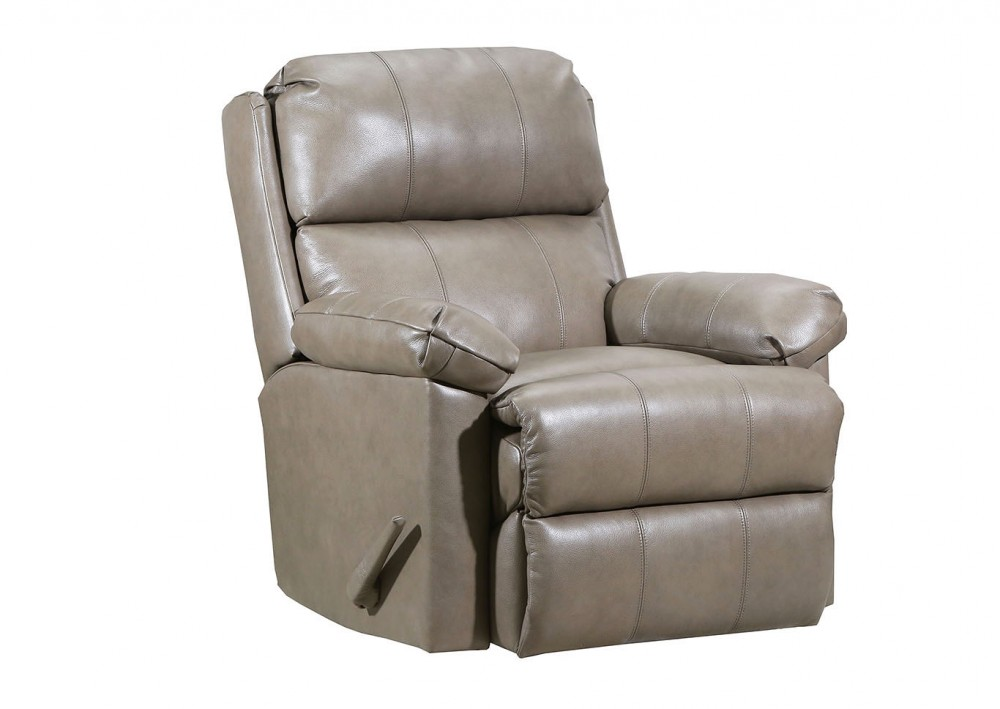 Taupe Leather Rocker Recliner
