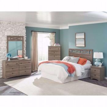 4pc Grey Wash Queen Bedroom Set