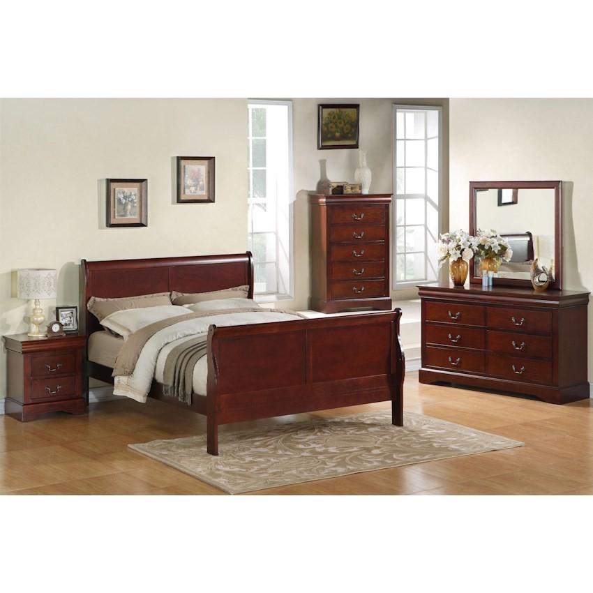 6pc Cherry Queen Sleigh Bedroom Set