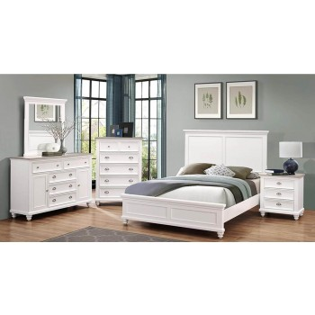 6pc Two Tone Island Breeze White Queen Bedroom Set