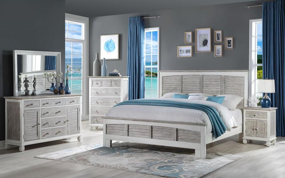 4pc White/Grey Islamorada Queen Bedroom Set