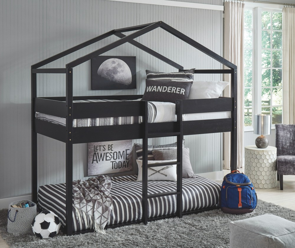 Flannibrook - Twin over Twin House Loft Bed