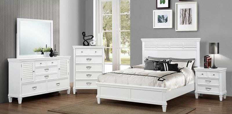 6pc King Ocean View White Bedroom Set