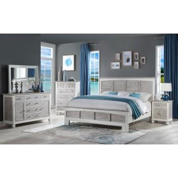 4pc White/Grey Islamorada King Bedroom Set