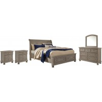Lettner - Queen Sleigh Bed with 2 Storage Drawers with Mirrored Dresser and 2 Nightstands