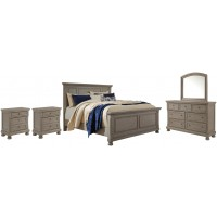 Lettner - California King Panel Bed with Mirrored Dresser and 2 Nightstands