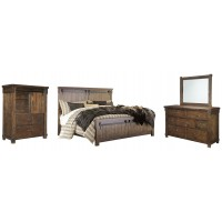 Lakeleigh - King Panel Bed with Mirrored Dresser and Chest