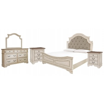 Realyn - King Upholstered Panel Bed with Mirrored Dresser and 2 Nightstands