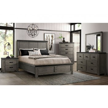 6pc Wade Grey King Bedroom Set