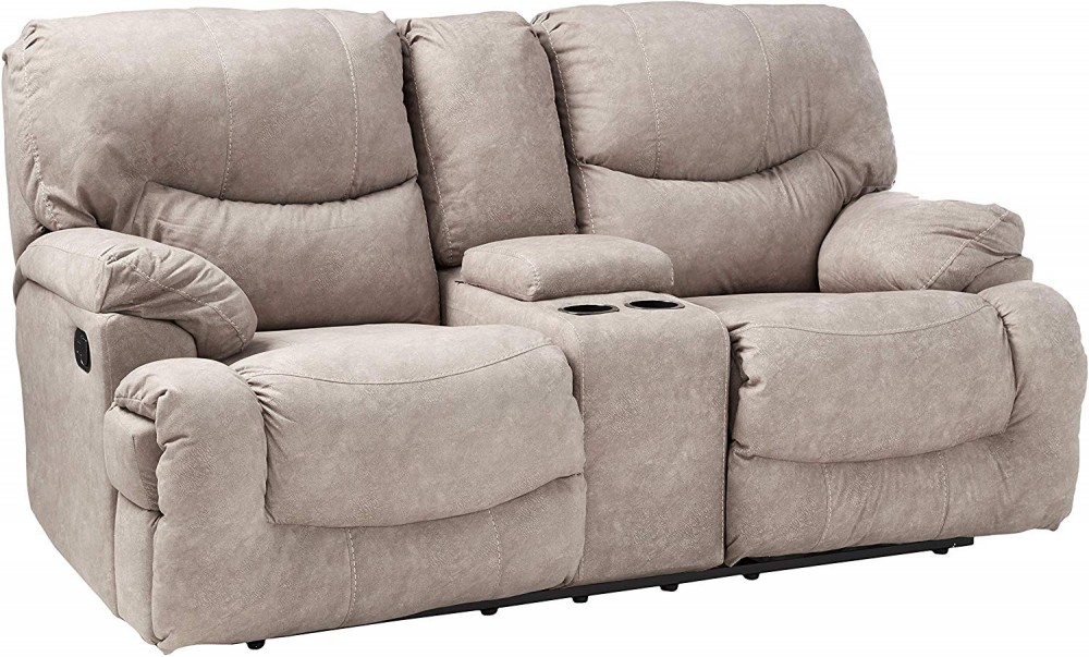 Palermo Shale Double Reclining Loveseat w/ Console