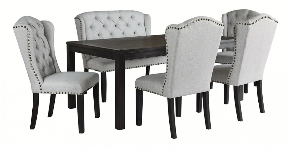 Jeanette Dining Table And 4 Chairs And Bench D702 01 4 08 25 Dining Room Groups Price Busters Furniture
