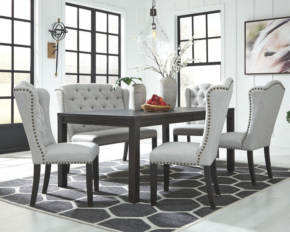 Jeanette - Dining Table and 4 Chairs and Bench