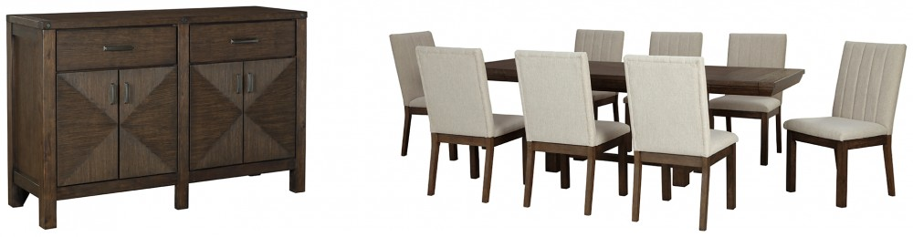 Dellbeck - Dining Table and 8 Chairs with Storage