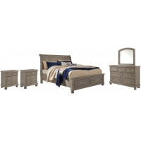 Lettner - California King Sleigh Bed with Mirrored Dresser and 2 Nightstands
