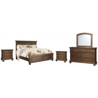 Flynnter - Queen Panel Bed with 2 Storage Drawers with Mirrored Dresser and 2 Nightstands