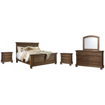 Flynnter - Queen Panel Bed with Mirrored Dresser and 2 Nightstands