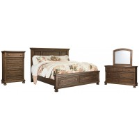 Flynnter - Queen Panel Bed with 2 Storage Drawers with Mirrored Dresser and Chest