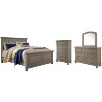 Lettner - California King Panel Bed with Mirrored Dresser and Chest