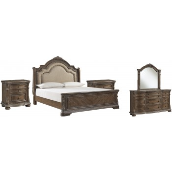 Charmond - California King Upholstered Sleigh Bed with Mirrored Dresser and 2 Nightstands