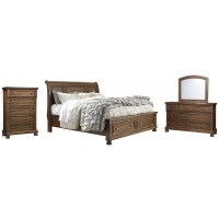 Flynnter - Queen Sleigh Bed with 2 Storage Drawers with Mirrored Dresser and Chest
