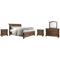 Flynnter - Queen Sleigh Bed with 2 Storage Drawers with Mirrored Dresser and 2 Nightstands