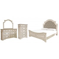 Realyn - Queen Upholstered Panel Bed with Mirrored Dresser and Chest