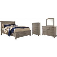 Lettner - Queen Sleigh Bed with 2 Storage Drawers with Mirrored Dresser and Chest