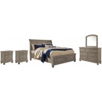 Lettner - King Sleigh Bed with 2 Storage Drawers with Mirrored Dresser and 2 Nightstands