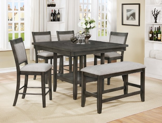 FULTON GREY COUNTER TABLE + 4 CHAIRS