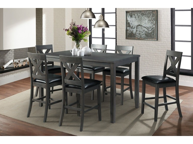 Legond Counter High Table with 6 Chairs Grey