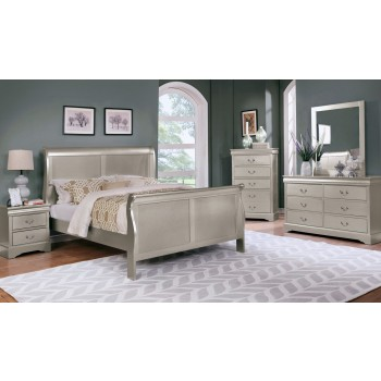 Louis Philippe Gold Dresser Mirror Queen Bed