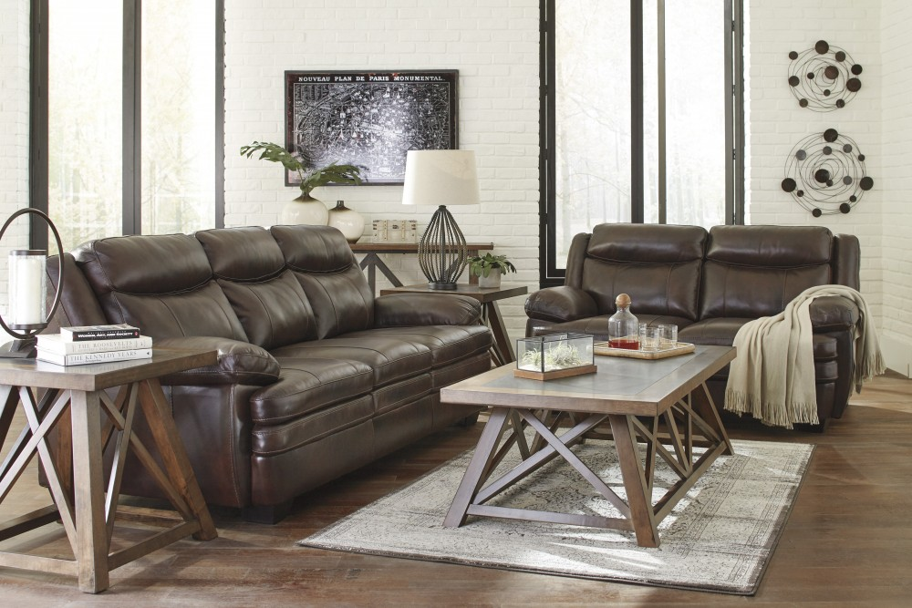 Hannalore Leather Sofa & Love Seat Set