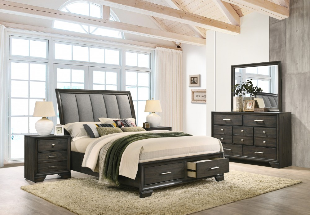 Jaymes 4 Piece Qn Bed, Drs, Mir & Stand