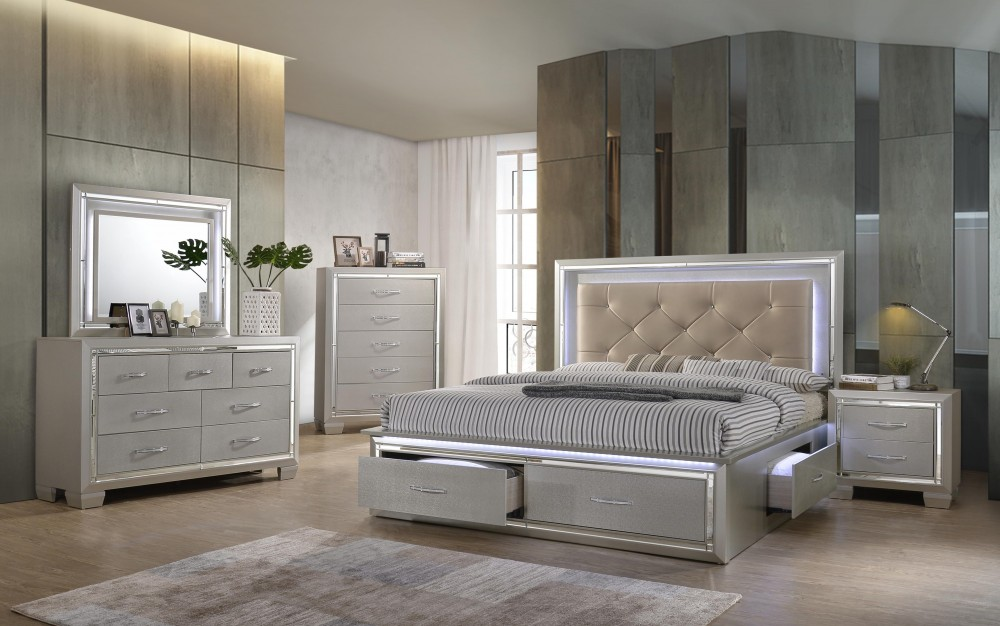 Platinum 4 Piece E/ King Bed, Drs, Mir & Stand