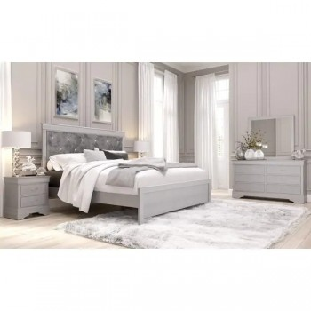Verona Silver Dresser Mirror Queen Bed